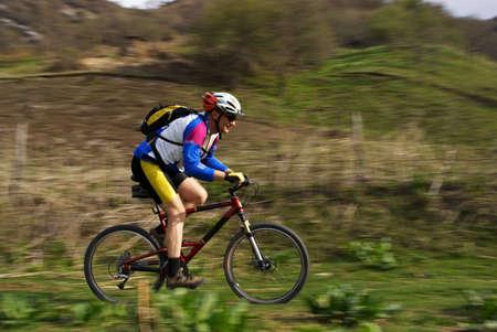 Speed motion mountain biker Stock Photo - 2900149