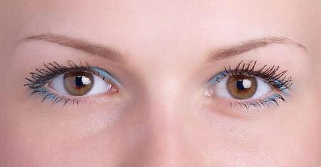 glance: Brown girl eye - well-disposed glance Stock Photo