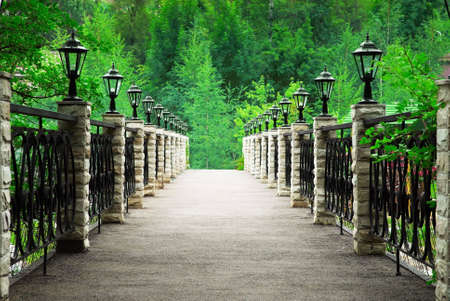 Footbridge in park photo