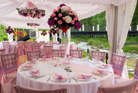 Pink  tables in outdoor restaurant