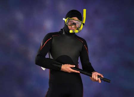 skin diving: Underwater diver  in studio