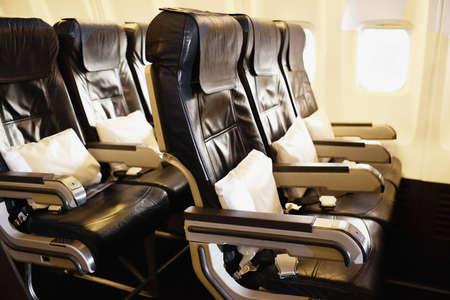 flew: Airplane inside Stock Photo
