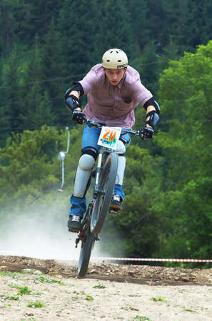 bikecross: ALMATY, KAZAKHSTAN - JULY 3: Pavel Rozbittsky (no. 20) in action at Kumbel Hotel Hasa Cup 2005 bike cross competition in Almaty, Kazakhstan July 3, 2005. Editorial