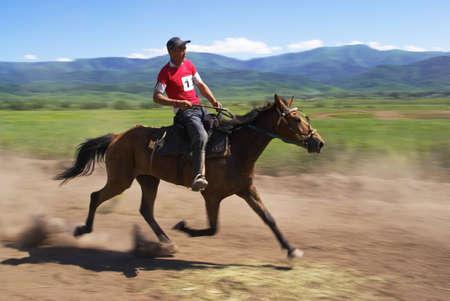 LEPSINSK, KAZAKHSTAN - JUNE 14 : A traditional national nomad long-distance horse riding competition �Bayga� in action on June 14, 2008 in Lepsinsk, Kazakhstan.