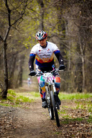ALMATY, KAZAKHSTAN - April 5: Igor Baranov (N20)  in action at cross-country relay race in Almaty, Kazakhstan April 5, 2009. Stock Photo - 7007181