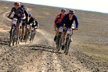 bikercross: ALMATY, KAZAKHSTAN - May 2: Adventure mountain bike cross-country marathon in desert Jeyran trophy  in Almaty, Kazakhstan May 2, 2008.