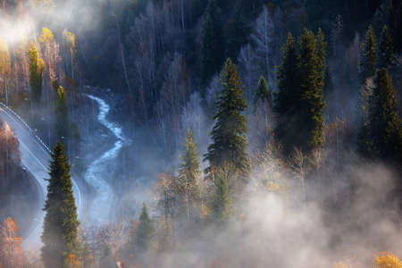 Road and river and fog in autumn mountains photo