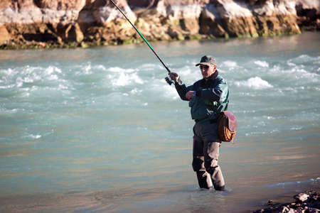 flyfishing: Fly-fishing on mountain river