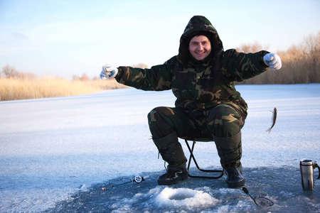 Ice fisherman on winter lake