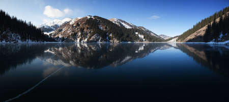 pano: Pano of frozen middle Kolsay lake in Tien-Shan mountains, Kazkahstan