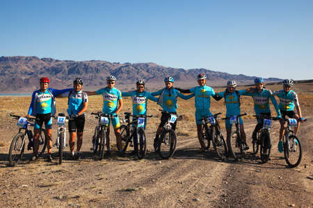 ALMATY, KAZAKHSTAN - SEPTEMBER 13: Team Astana in action at Adventure mountain bike cross-country marathon in mountains