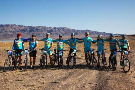 ALMATY, KAZAKHSTAN - SEPTEMBER 13: Team Astana in action at Adventure mountain bike cross-country marathon in mountains