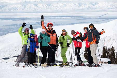 to ski: Group of friends, enjoying at mountain ski resort
