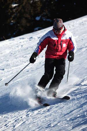 A main skiing on ski resort photo