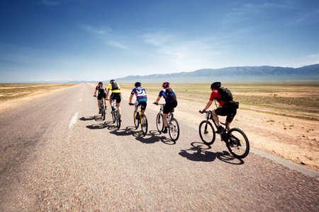 bikercross: ALMATY, KAZAKHSTAN - May 1: Adventure mountain bike cross-country marathon in desert Jeyran Trophy 09 in Almaty, Kazakhstan May 1, 2009.