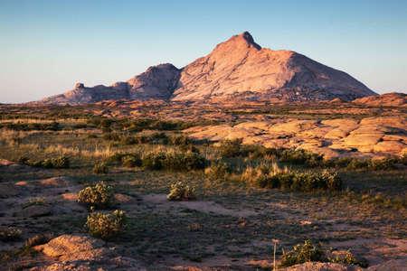 Desert mountains Bektau-Ata in Kazakhstan at sunset Stock Photo - 8951652