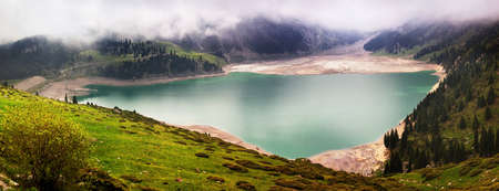 Panorama of Big Almaty Lake (BAO), Kazakhstan Stock Photo