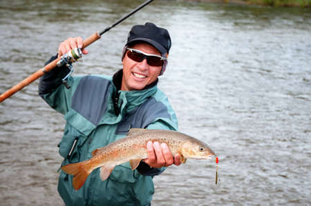 freshwater fishing: Fishing on lenok fish (Brachymystax) in Mongolia