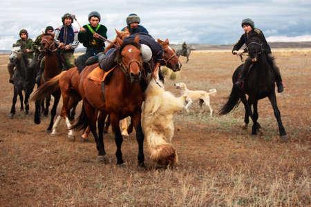 USTKAMAN, KAZAKHSTAN - OCTOBER 4 : A traditional nomad game of Kokpar in action on October 4, 2009 in Ustkaman, Kazakhstan. Kokpar is played on horseback to carry dead goat carcass into a goal.