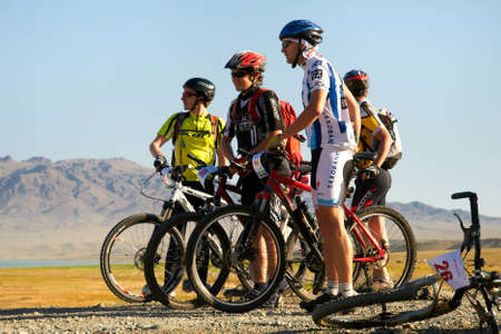 ALMATY, KAZAKHSTAN - SEPTEMBER 04: Competitors preparing for start in action at Adventure mountain bike cross-country marathon in mountains