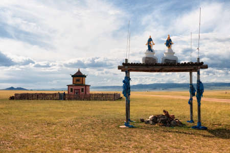 monastery nature: Buddhist temple side of the road near the village of Songino in northern Mongolia
