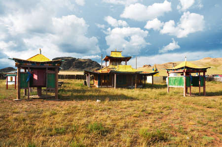 monastery nature: A deserted Buddhist temple in the village of Songino in northern Mongolia.  Stock Photo