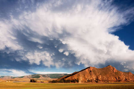 mongolia: Mountain landscape and clouds in northern Mongolia Stock Photo