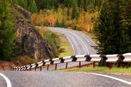 Road in the autumn mountains