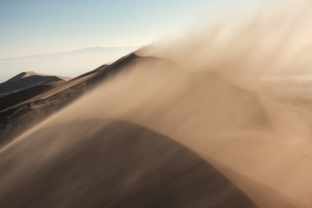 Sandstorm in desert national park Altyn-Emel, Kazakhstan Stock Photo