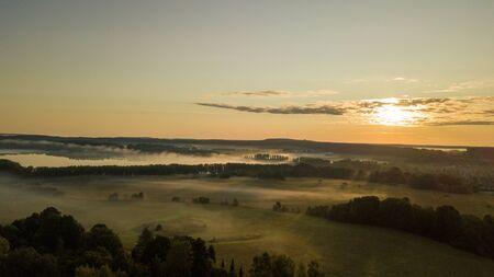 Beautiful Misty Morning Sunrise Flight