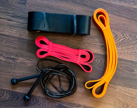 resistance bands on the floor