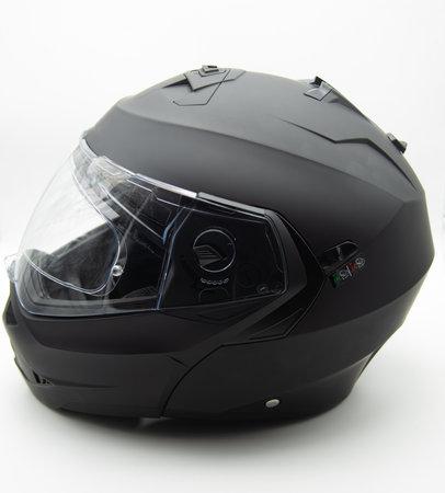 black modular helmet, on white background