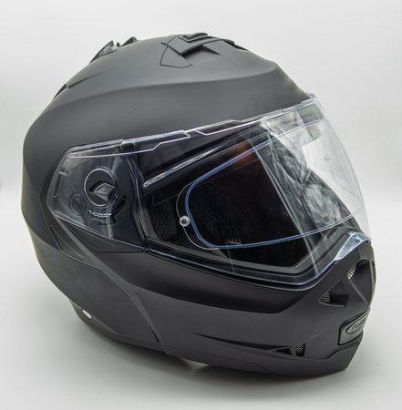 black modular helmet, on white background Banque d'images