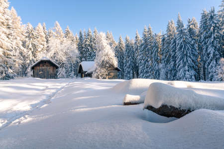 Small old house in the mountain woods on a sunny, very cold day with lots of snow. Footprints in the snow leading to the house. Beautiful winter forest. Beskid mountains, Czechia.