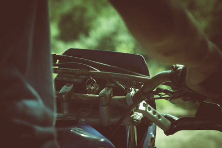 ignition: Start the motorcycle, ignition key. Stock Photo