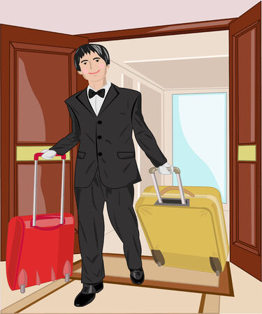 porter: The employee of hotel helps to bear two suitcases