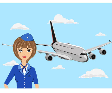 The young stewardess in blue clothes costs near the plane Stock Vector - 7438209