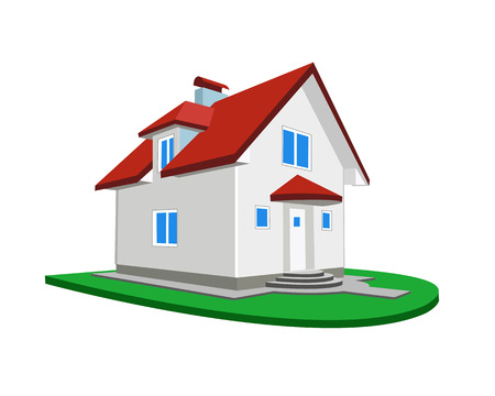 immovable property: Model of a cottage on a white background Illustration