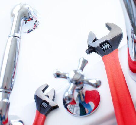 adjustable: Adjustable wrenches for plumbing Stock Photo