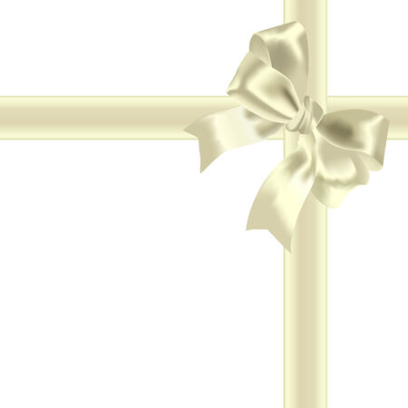 bows and ribbons: Yellow bow and tape on a white background