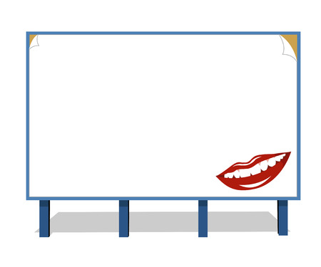 publicity: Cheerful smile with white teeth on a publicity board Illustration