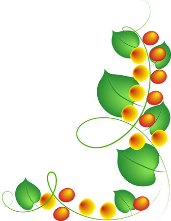 Beautiful flowers and leafs on a white background Stock Vector - 7535784