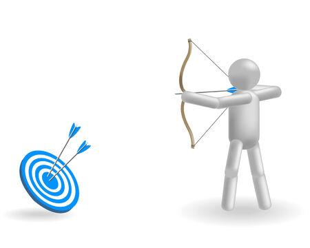 shoots: The grey man shoots at the blue target