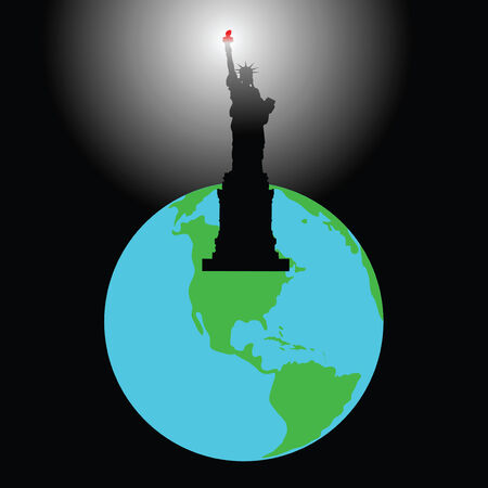 The statue shines by a torch all planet