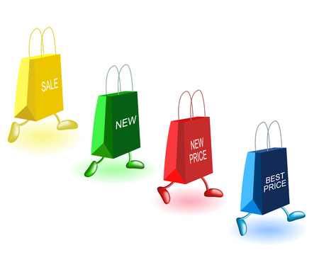 shopping list: Bags with inscriptions on a white background