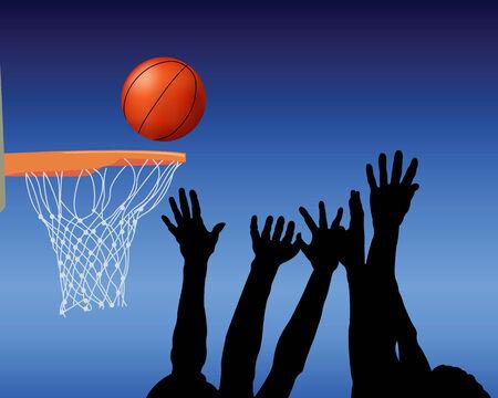 mani legate: Sagome delle mani e la palla su sfondo blu Vettoriali