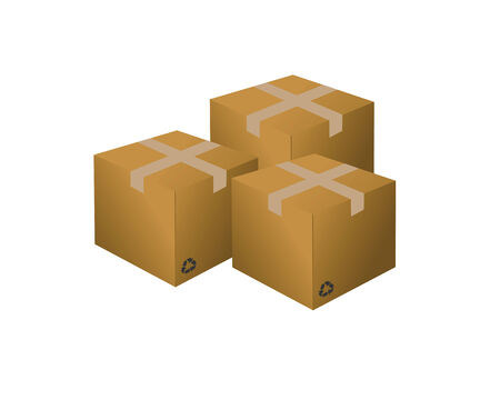 Three cardboard boxes on a white background Stock Vector - 7535660