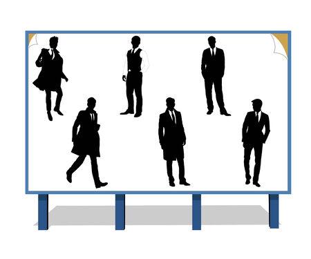 publicity: Siluetas negras de la businessmans en un tablero de publicidad