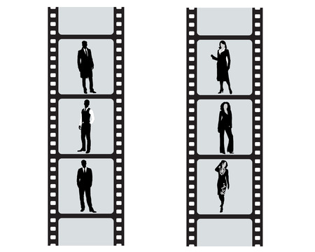 frock coat: Businessmans and businesswomans on cinefilm on white background