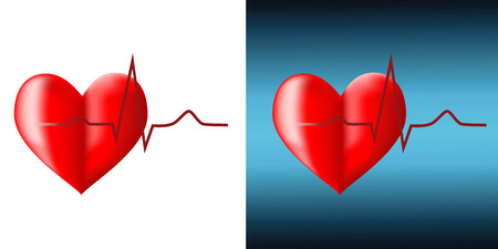 Red cardiogram and heart on a white background Vector